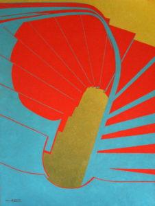 Escalier rouge-bleu - William Mathieu - Huile sur toile - 2012 - 25P