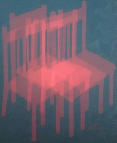 Chaise vitrail rose, William Mathieu, huile sur toile, 2018, 36 x 29 cm