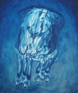Le chien mélancolique, William Mathieu, Huile sur toile, 2018, 61 x 50 cm