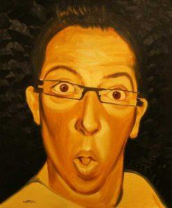 Autoportrait camaïeu - William Mathieu - Huile sur toile - 2009 - 73 x 60 cm