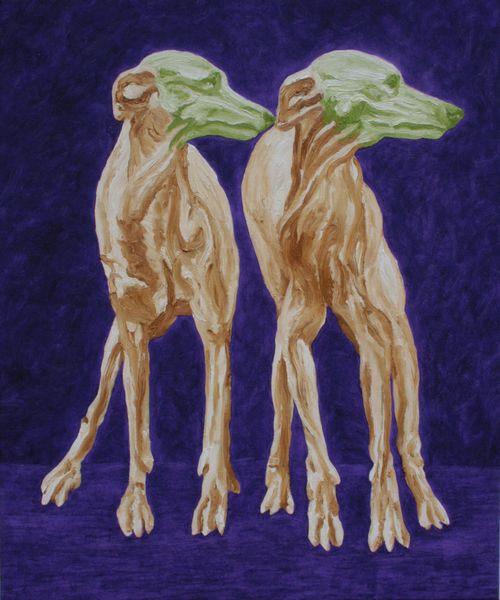 Les masques verts, William Mathieu, Huile sur toile, 2017, 75 x 61 cm