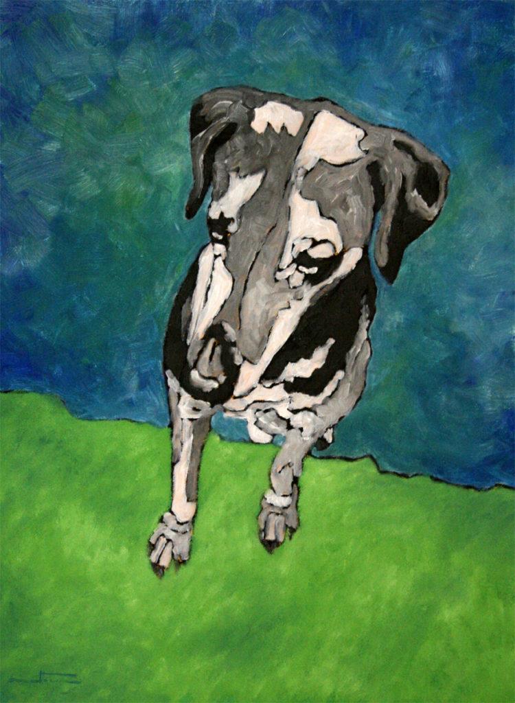Chien gris - William Mathieu - Huile sur toile - 2012 - 80 x 61 cm