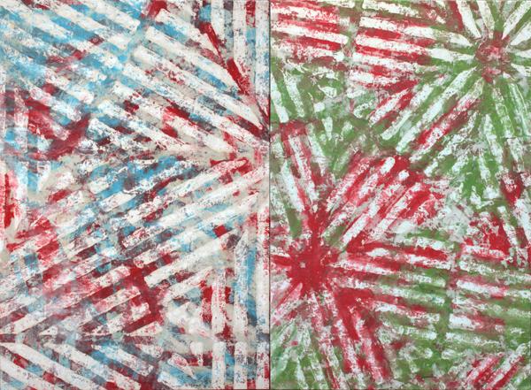 Diptyque chevrons 1 - William Mathieu - Huile sur toile - 2014 - 120 x 200 cm