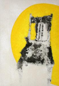 Chaise noire halo jaune - William Mathieu - Huile et acrylique sur toile - 2013 - 96 x 65 cm