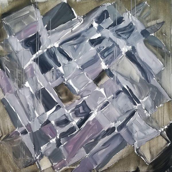 Milliers de coups de massettes, William Mathieu, Huile sur toile, 100 x 100 cm