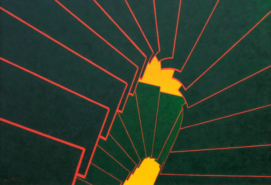 Escalier Vert-rouge - William Mathieu - Huile sur toile - 2012 - 50P