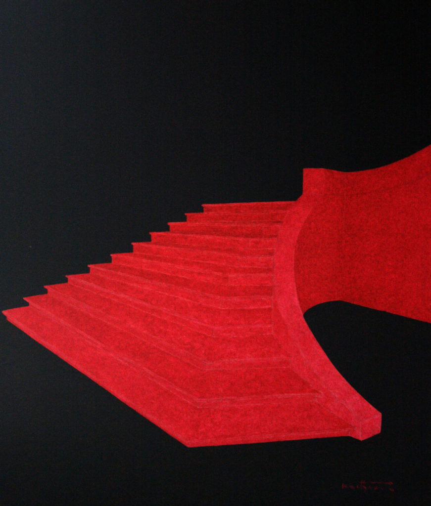 Escalier rose - William Mathieu - Huile sur toile - 2011 - 50x40 cm