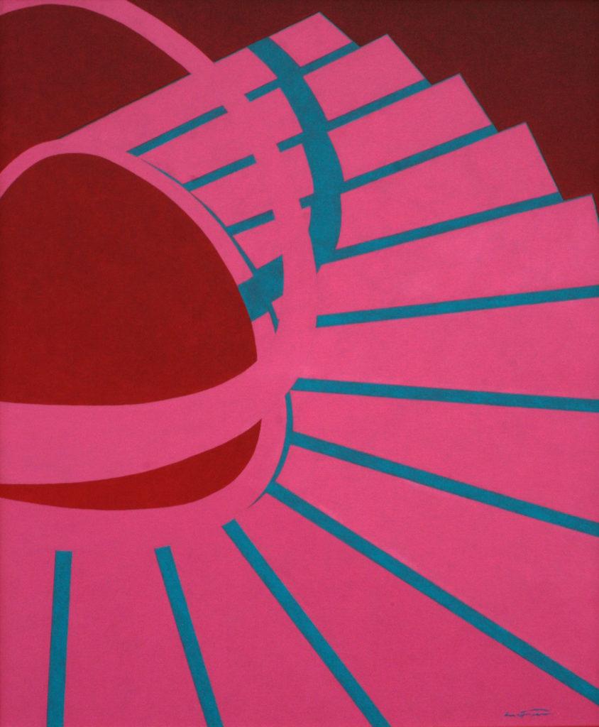 Escalier rose-bleu - William Mathieu - Huile sur toile - 2012 - 40F