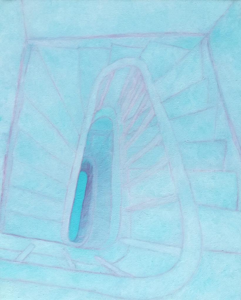 William Mathieu, Montée vers le bleu, Huile sur Toile, 60x48cm